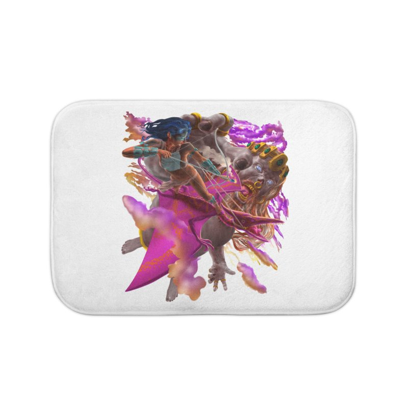 Pterodactyl Warrior vs Giant  Home Bath Mat by Ayota Illustration Shop