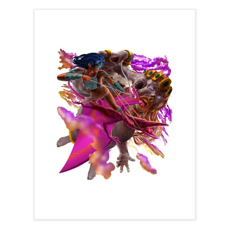 Pterodactyl Warrior vs Giant  Home Fine Art Print by Ayota Illustration Shop
