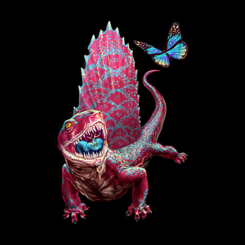 Dimetrodon with Butterfly Men's T-Shirt by Ayota Illustration Shop