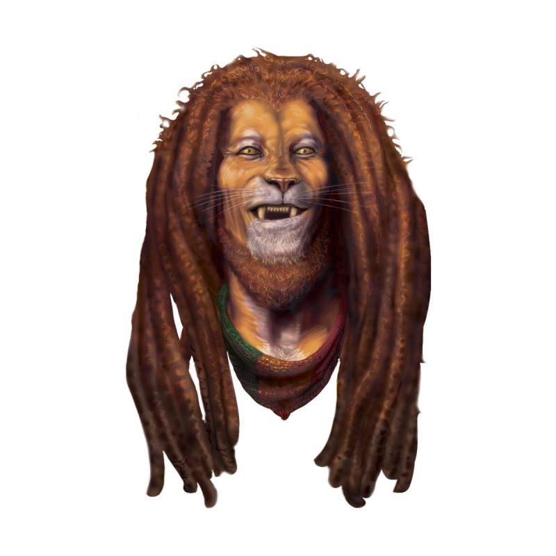 Rasta Lion Home Throw Pillow by Ayota Illustration Shop