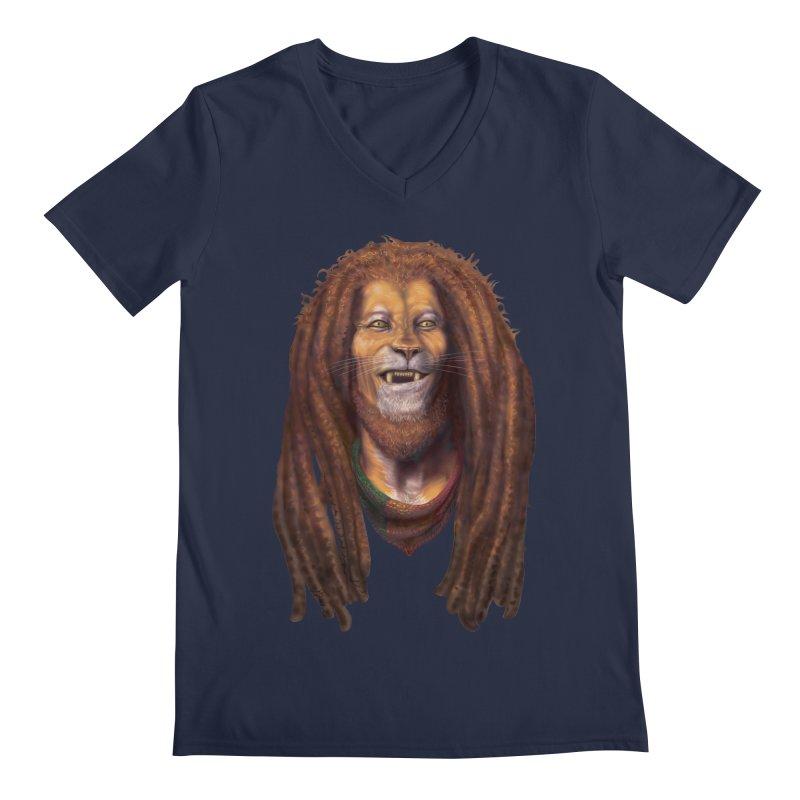 Rasta Lion Men's V-Neck by Ayota Illustration Shop