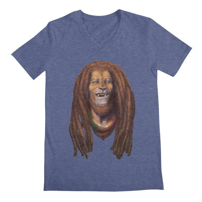 Rasta Lion Men's V-Neck by Ayota Illustration Shop