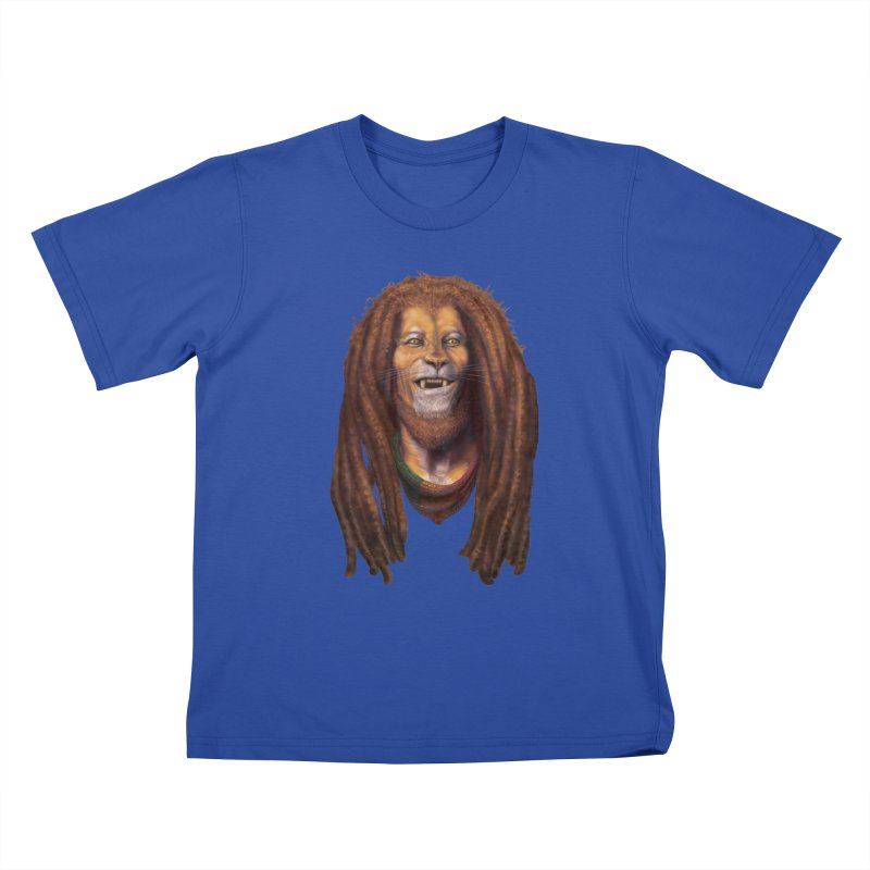 Rasta Lion Kids T-Shirt by Ayota Illustration Shop