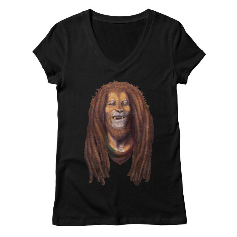 Rasta Lion Women's V-Neck by Ayota Illustration Shop