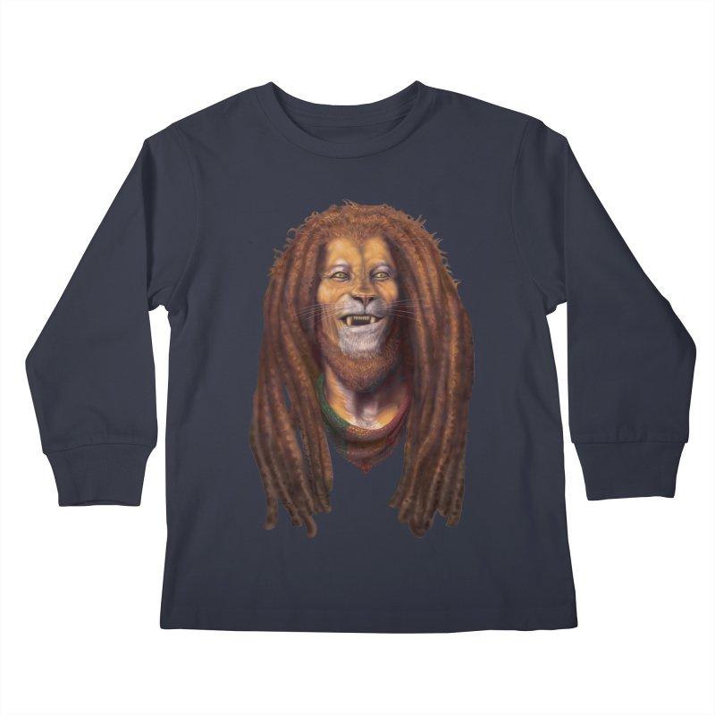 Rasta Lion Kids Longsleeve T-Shirt by Ayota Illustration Shop