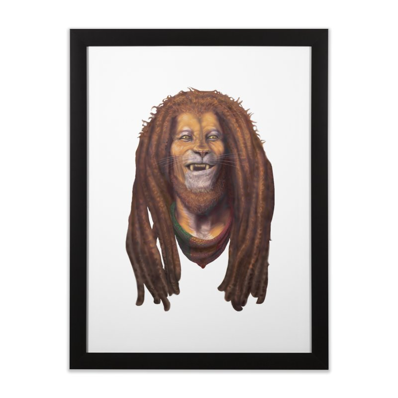 Rasta Lion Home Framed Fine Art Print by Ayota Illustration Shop