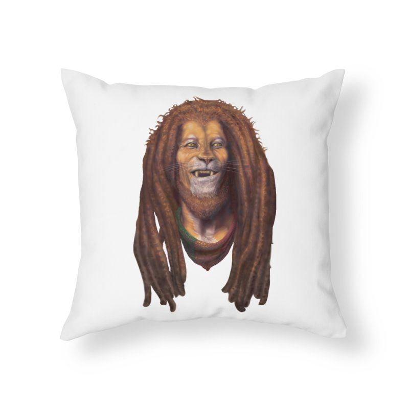 Rasta Lion Home Throw Pillow by Ayota Illustration Shop