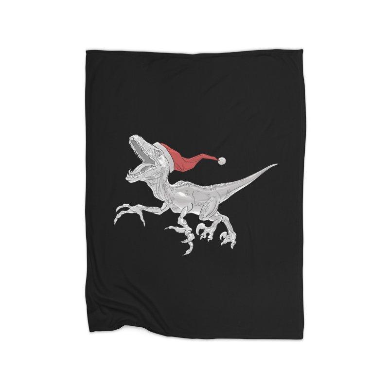 Christmas Velociraptor Black and White Home Fleece Blanket Blanket by Ayota Illustration Shop