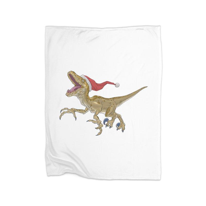Christmas Velociraptor Home Fleece Blanket Blanket by Ayota Illustration Shop