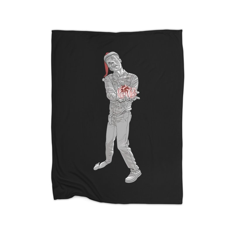 Christmas Zombie Black and White  Home Fleece Blanket Blanket by Ayota Illustration Shop