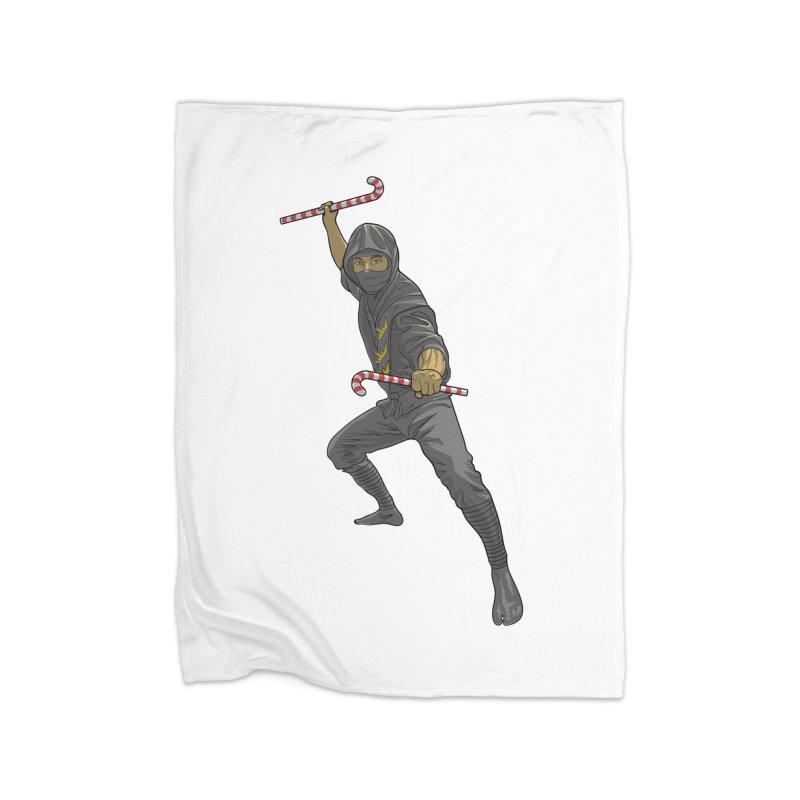Christmas Ninja  Home Fleece Blanket Blanket by Ayota Illustration Shop