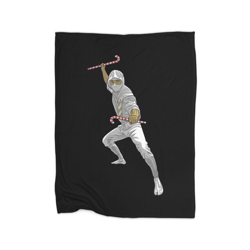 Christmas Ninja Black and White  Home Fleece Blanket Blanket by Ayota Illustration Shop