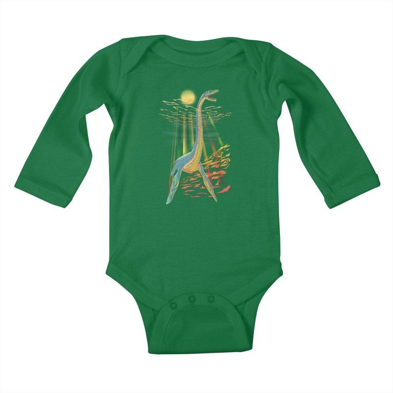 The Loch Ness Plesiosaur Kids Baby Longsleeve Bodysuit by Ayota Illustration Shop