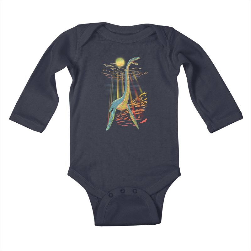 The Loch Ness Plesiosaur Kids Baby Longsleeve Bodysuit by Ayota Illustration Shop