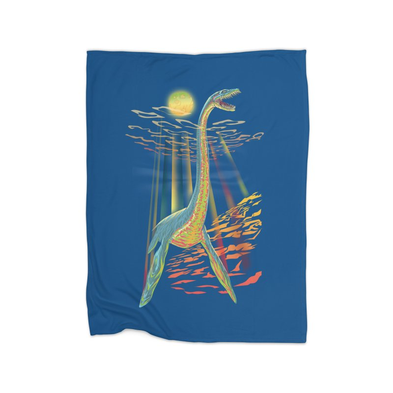 The Loch Ness Plesiosaur Home Blanket by Ayota Illustration Shop
