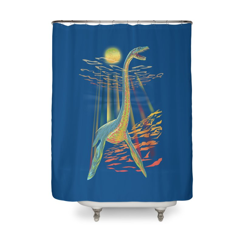 The Loch Ness Plesiosaur Home Shower Curtain by Ayota Illustration Shop