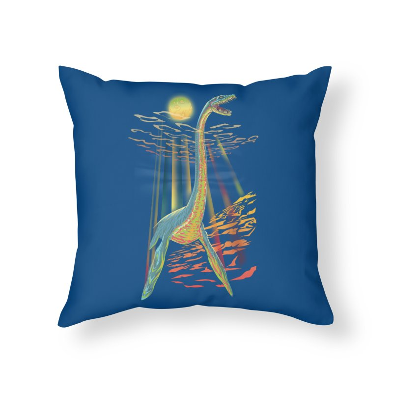 The Loch Ness Plesiosaur Home Throw Pillow by Ayota Illustration Shop