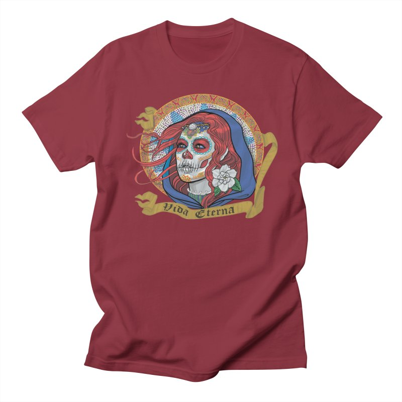 Red Catrina (Day of the Dead)  Men's Regular T-Shirt by Ayota Illustration Shop