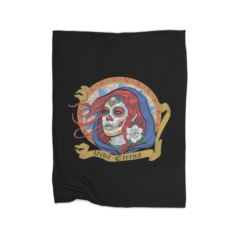 Red Catrina (Day of the Dead)  Home Fleece Blanket Blanket by Ayota Illustration Shop