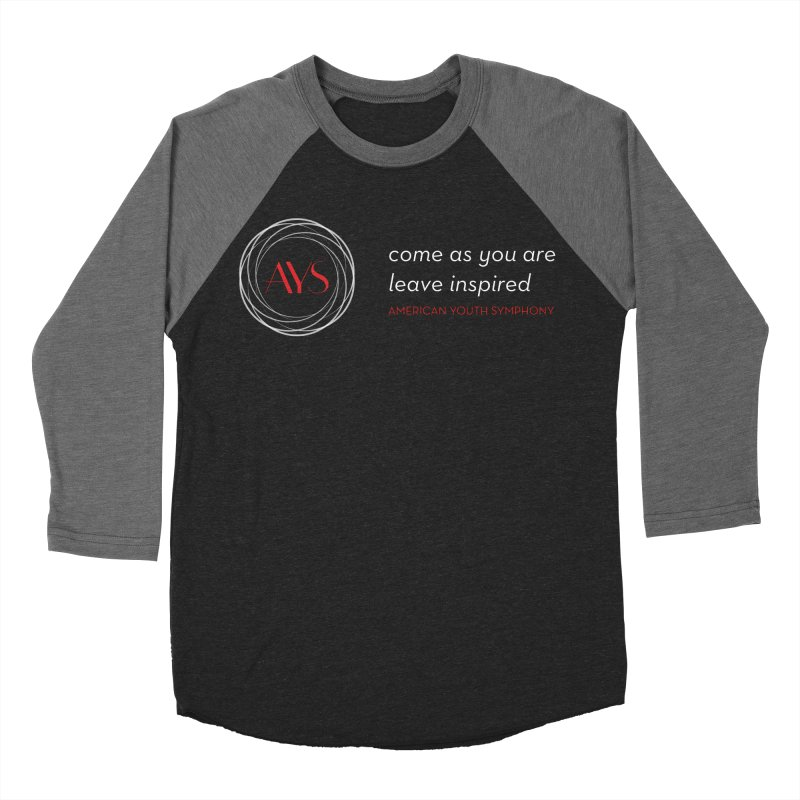 Logo/Tagline Dark Background in Men's Baseball Triblend Longsleeve T-Shirt Grey Triblend Sleeves by American Youth Symphony Merchandise