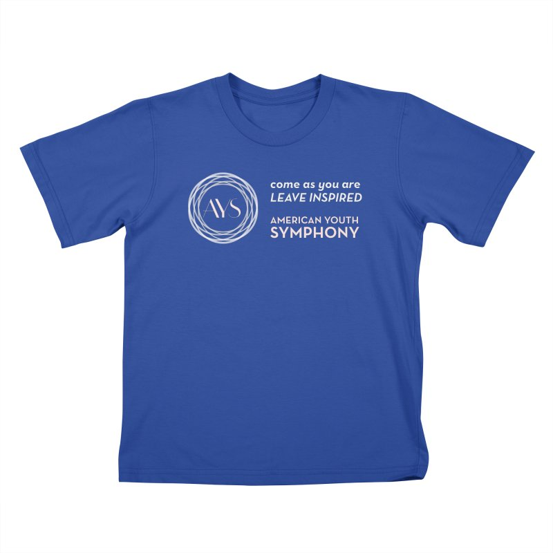 Logo/Tagline White+Tan in Kids T-Shirt Royal Blue by American Youth Symphony Merchandise