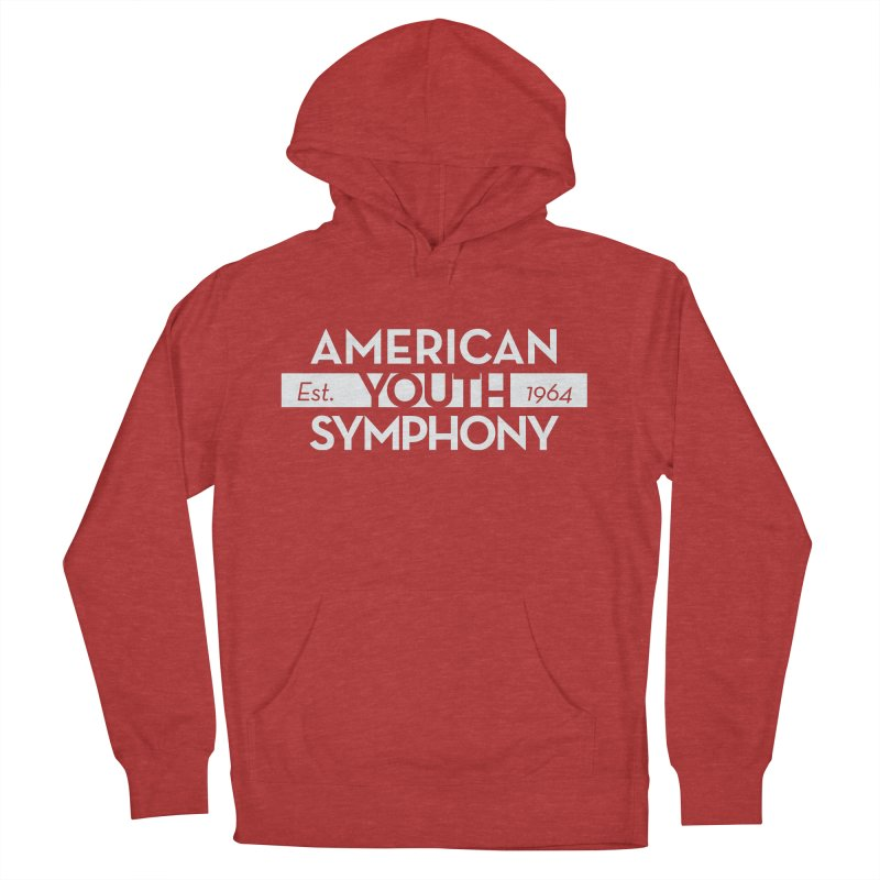 Est. 1964 (white) in Men's French Terry Pullover Hoody Heather Red by American Youth Symphony Merchandise