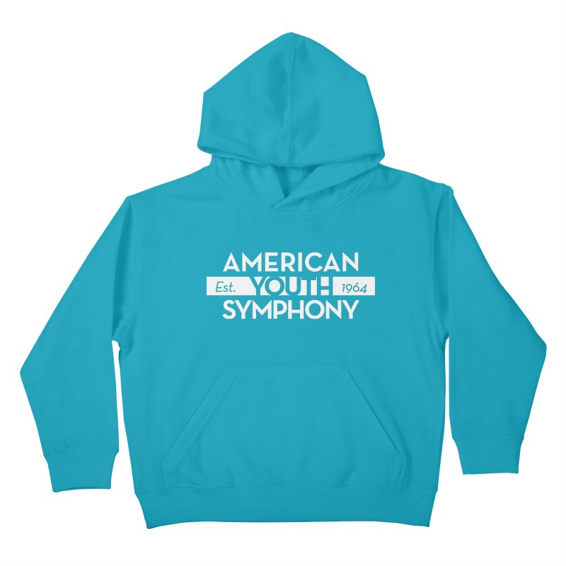 Est. 1964 (white) in Kids Pullover Hoody Cyan by American Youth Symphony Merchandise