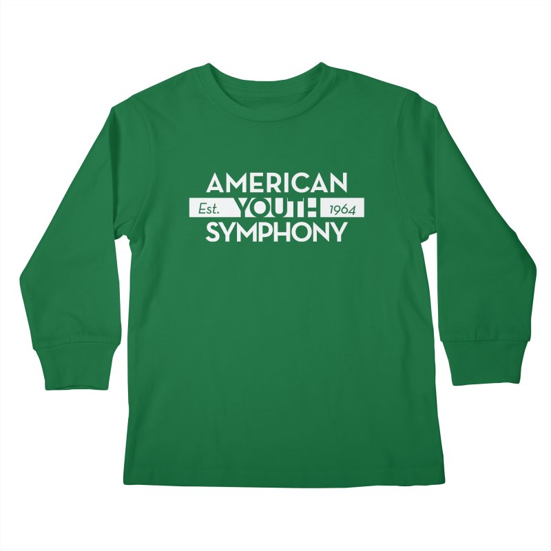Est. 1964 (white) in Kids Longsleeve T-Shirt Kelly Green by American Youth Symphony Merchandise