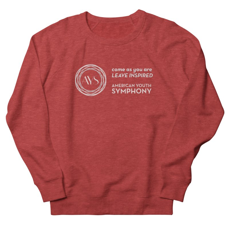 Logo/Tagline Horizontal in Men's French Terry Sweatshirt Heather Red by American Youth Symphony Merchandise