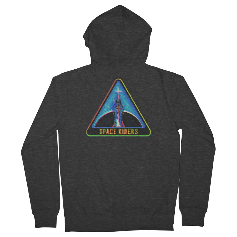 Space Riders - Glitch  Men's French Terry Zip-Up Hoody by Alexis Ziritt