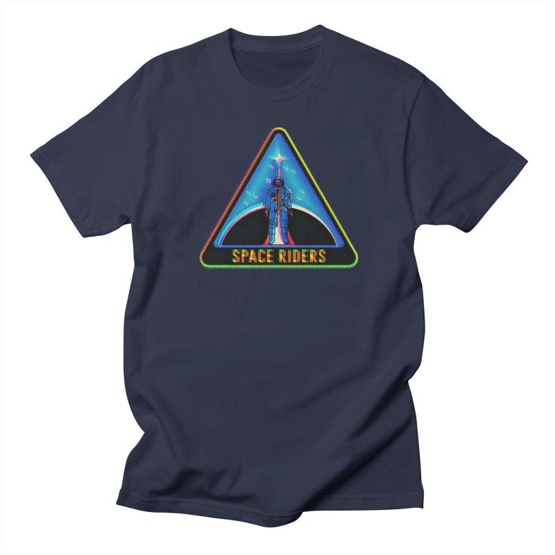 Space Riders - Glitch  Men's Regular T-Shirt by Alexis Ziritt