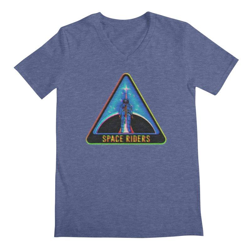 Space Riders - Glitch  Men's Regular V-Neck by Alexis Ziritt