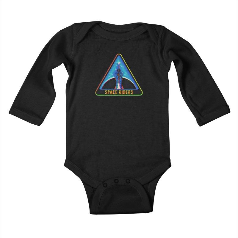 Space Riders - Glitch  Kids Baby Longsleeve Bodysuit by Alexis Ziritt
