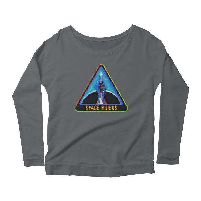 Space Riders - Glitch  Women's Scoop Neck Longsleeve T-Shirt by aziritt's Artist Shop