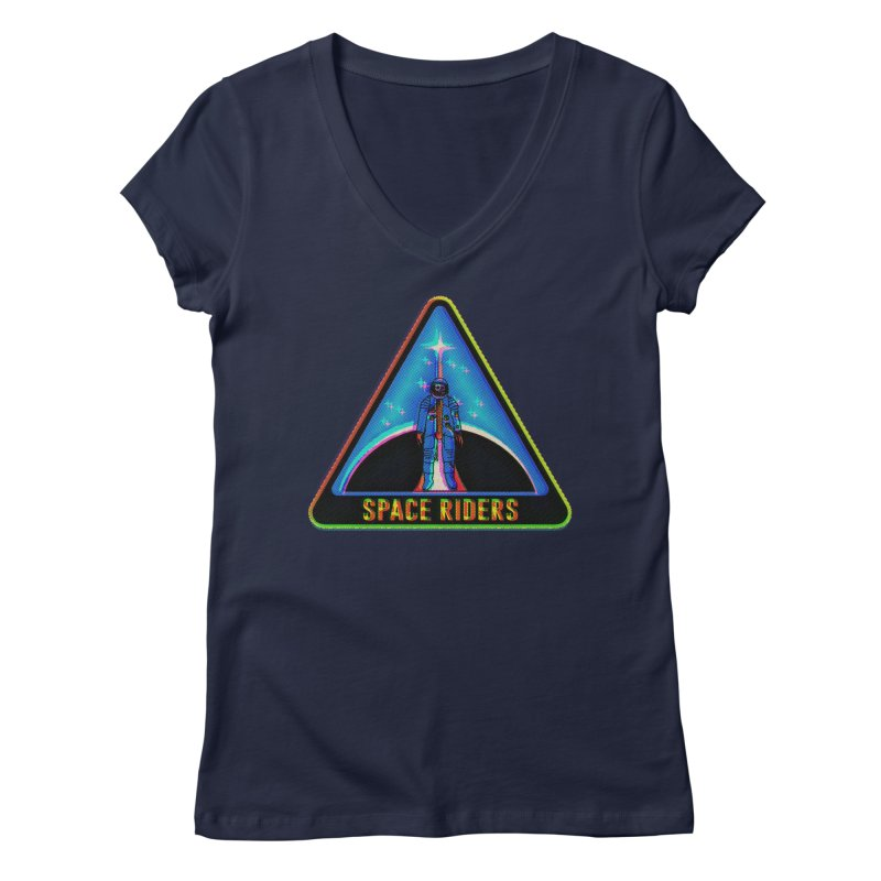 Space Riders - Glitch  Women's Regular V-Neck by Alexis Ziritt