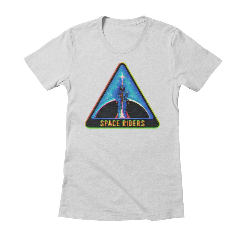 Space Riders - Glitch  Women's Fitted T-Shirt by aziritt's Artist Shop