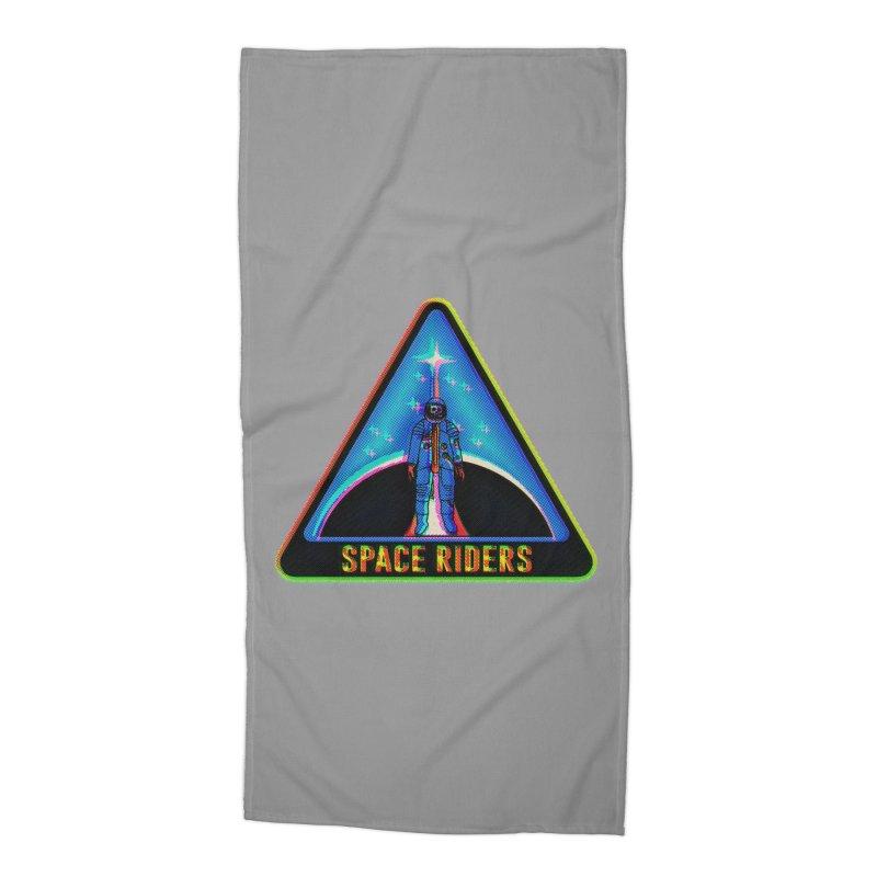 Space Riders - Glitch  Accessories Beach Towel by Alexis Ziritt