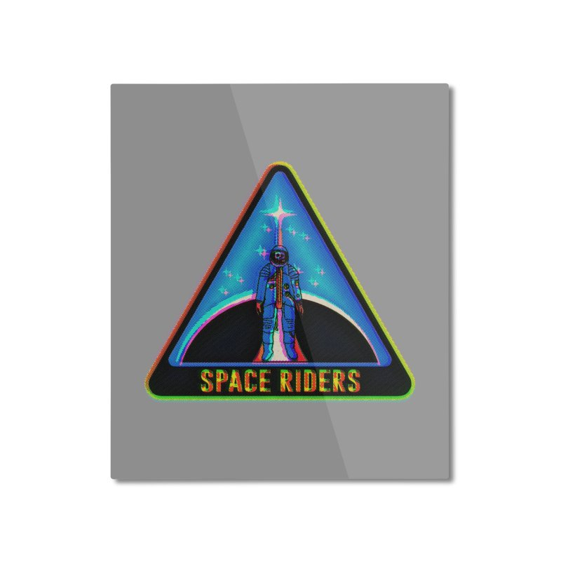 Space Riders - Glitch  Home Mounted Aluminum Print by aziritt's Artist Shop