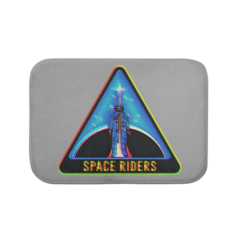 Space Riders - Glitch  Home Bath Mat by Alexis Ziritt