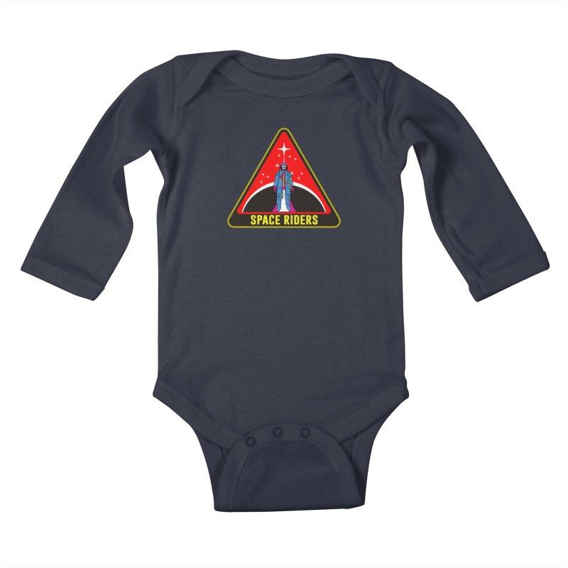 Space Riders - Patch  Kids Baby Longsleeve Bodysuit by Alexis Ziritt