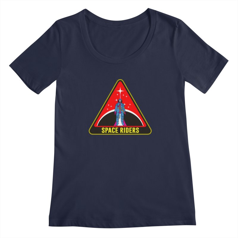 Space Riders - Patch  Women's Scoopneck by aziritt's Artist Shop