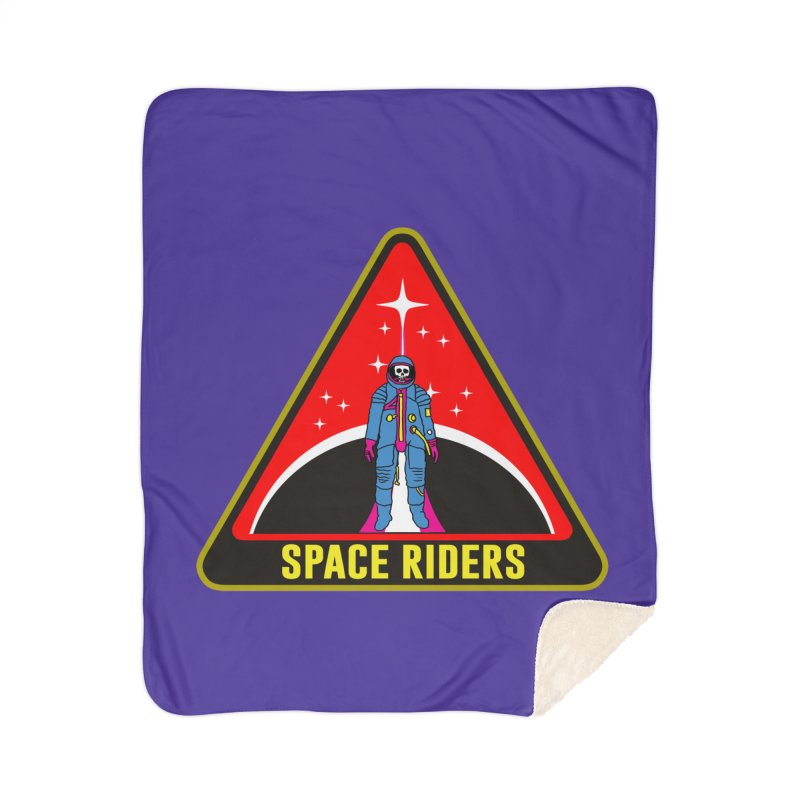 Space Riders - Patch  Home Sherpa Blanket Blanket by Alexis Ziritt