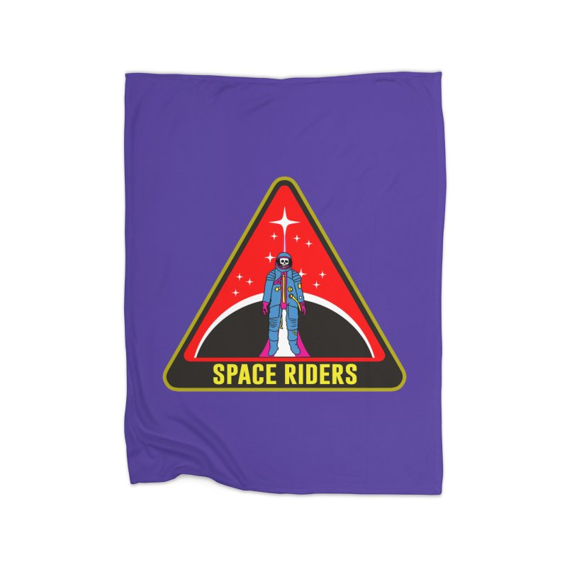 Space Riders - Patch  Home Fleece Blanket Blanket by Alexis Ziritt