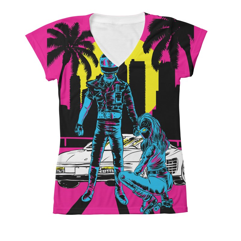 Miami1984 Women's V-Neck All Over Print by aziritt's Artist Shop