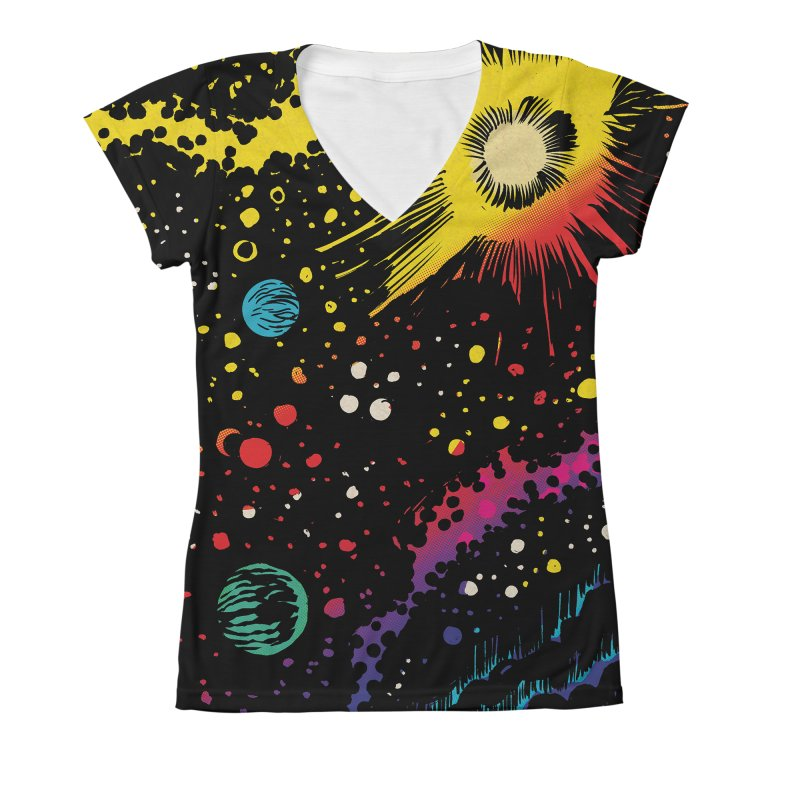 Space Women's V-Neck All Over Print by aziritt's Artist Shop