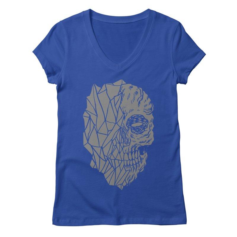 Crystal Skull Women's V-Neck by aziritt's Artist Shop