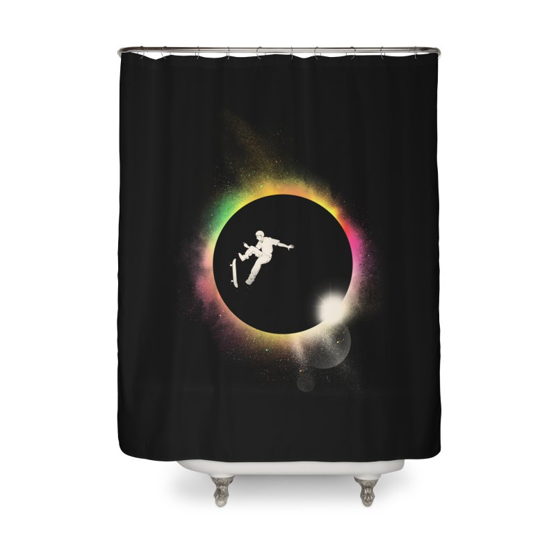 Skate Eclipse Home Shower Curtain by azrhon's Artist Shop