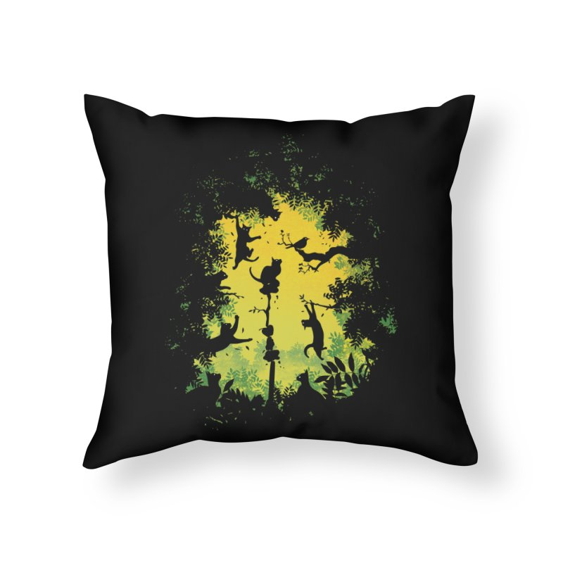 Cats in Action Home Throw Pillow by azrhon's Artist Shop
