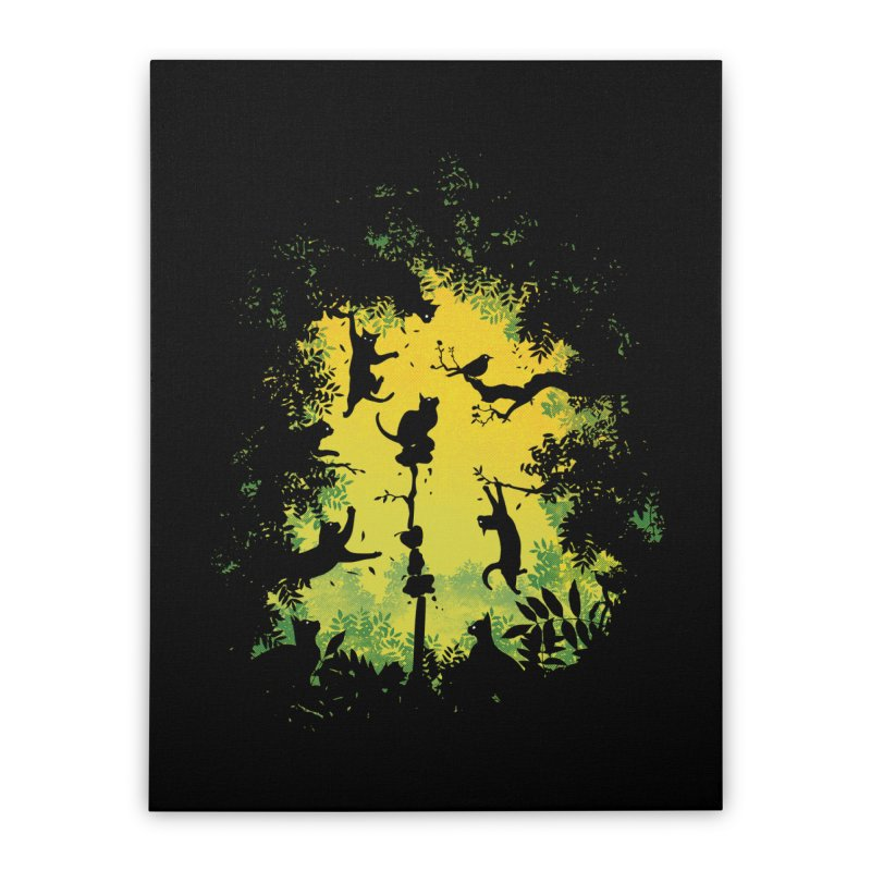 Cats in Action Home Stretched Canvas by azrhon's Artist Shop