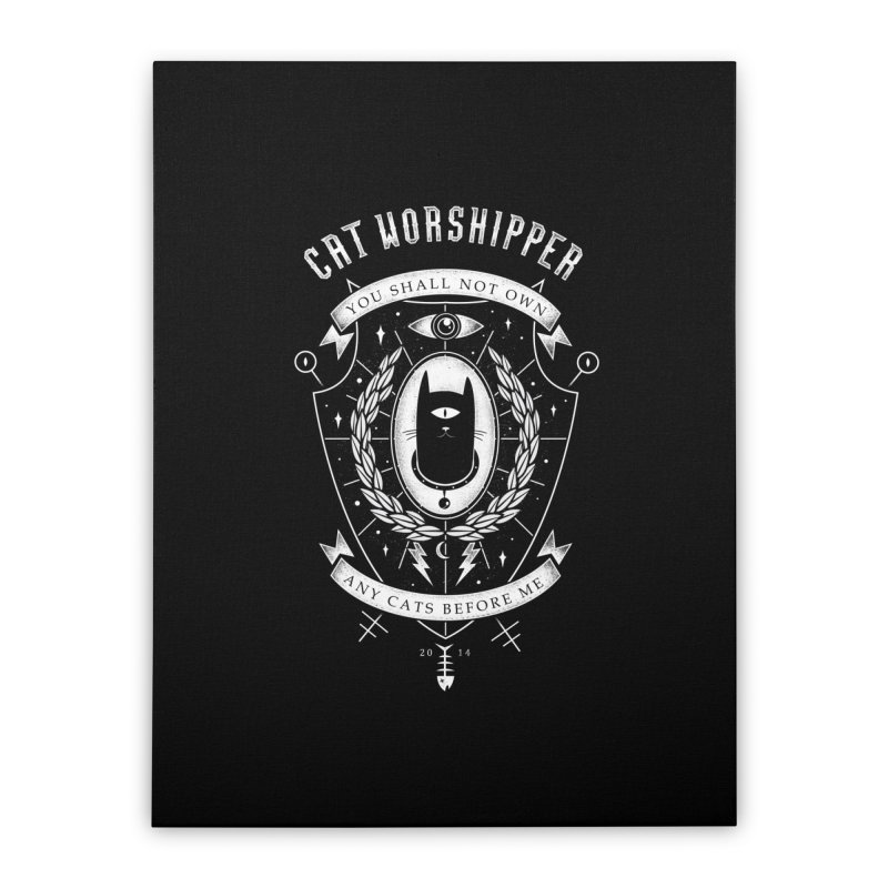 Cat Worshipper Home Stretched Canvas by azrhon's Artist Shop